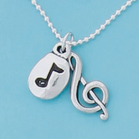 "Treble Clef / Note 18"" Dbl Charm Necklace"
